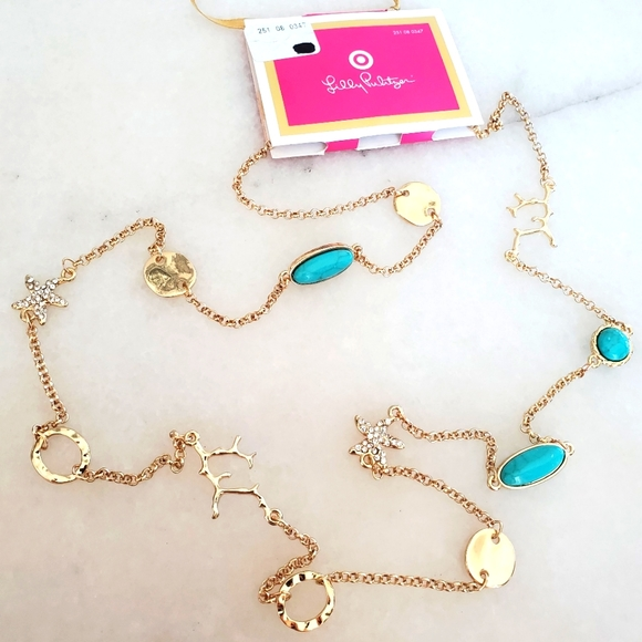 NWT Lilly Pulitzer Target LFT Charm pave necklace